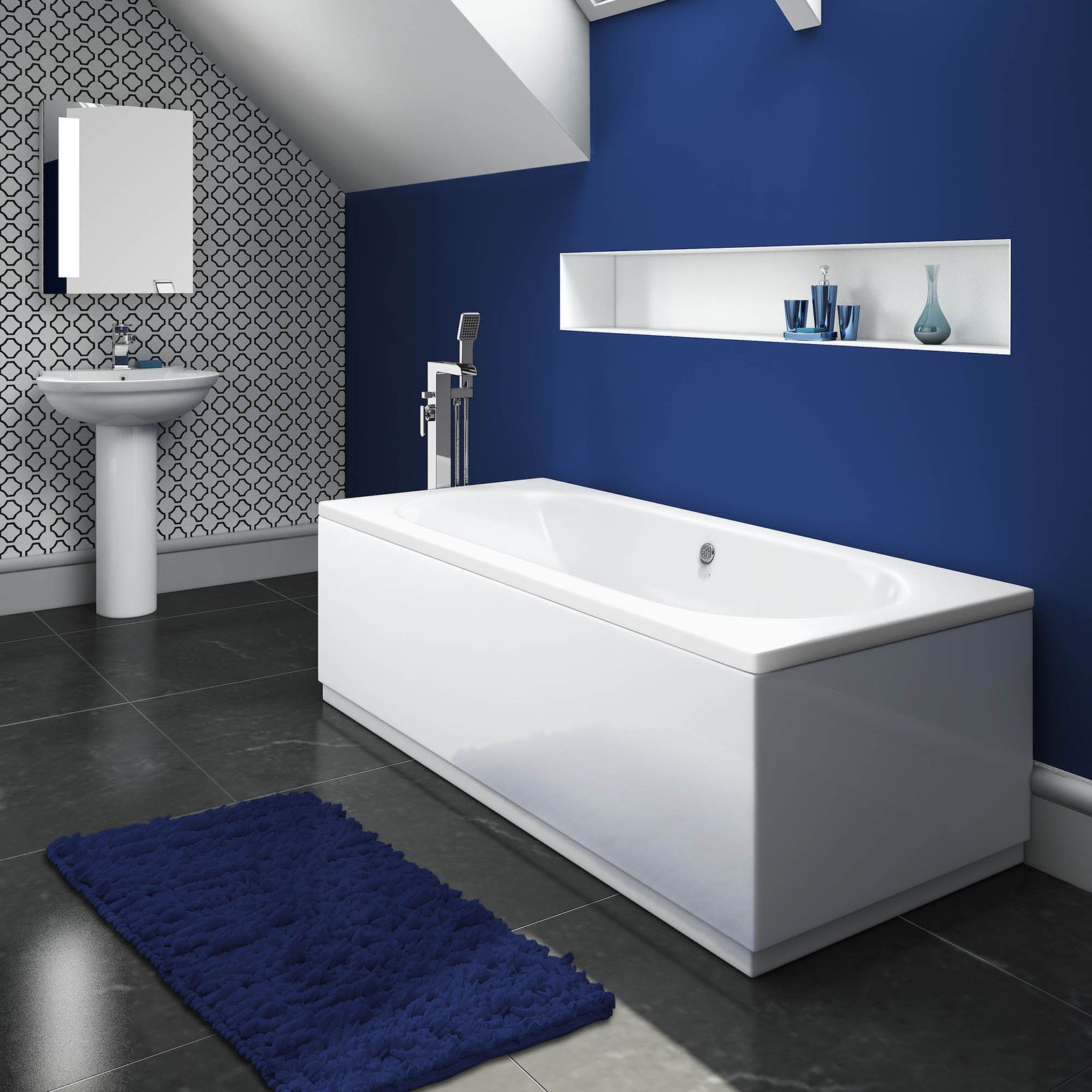 AquaSoak 1700 x 700 Double Ended Straight Bath round